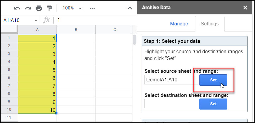 Archive Data Add-On for Google Sheets – Mixed Analytics