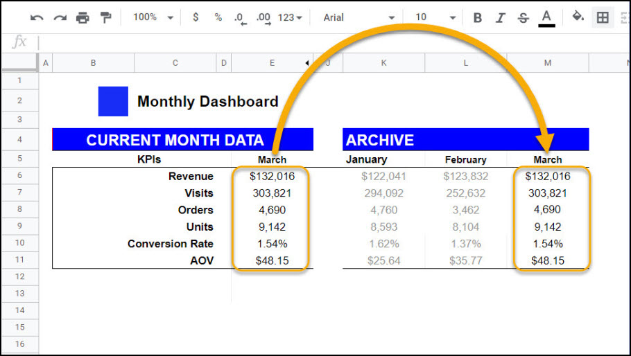 Archive Data Add-On for Google Sheets | Mixed Analytics
